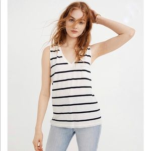 Madewell Whisper Striped V Neck Pocket Tank Top